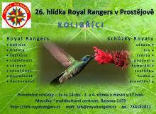 Pozvánka na schůzku 3. zadní hlídky Royal Rangers Prostějov.